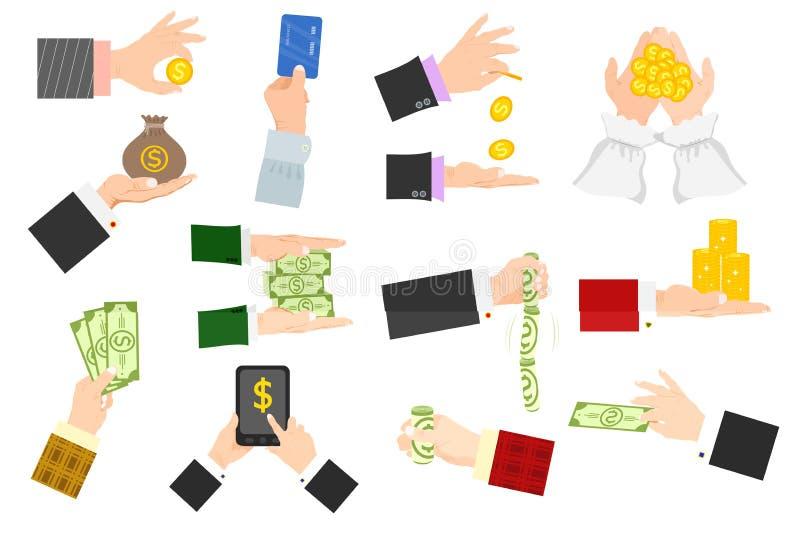 L'illustration humaine de vecteur de pile de monnaie fiduciaire de participation de bras de mains d'homme d'affaires a isolé le c illustration stock
