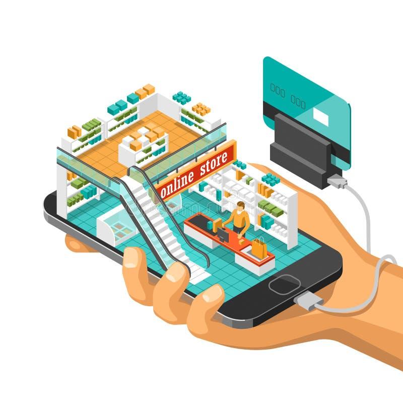L'illustration isométrique d'ombre d'achats en ligne avec le téléphone portable, ordinateur portable, stocke l'illustration de ve illustration stock
