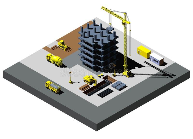 L'illustration isométrique de vecteur de construction de bâtiments, inclut de hauts véhicules détaillés illustration libre de droits