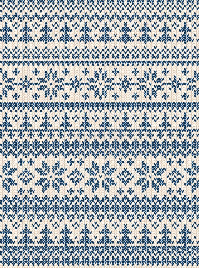 L'illustration laide de vecteur de bonne année de Joyeux Noël de chandail a tricoté le Scandinave folklorique de style de modèle  illustration libre de droits