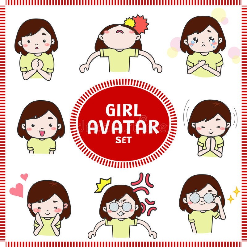 L'illustration mignonne de bande dessinée de l'icône d'avatar de fille et de femme a placé 2 illustration de vecteur
