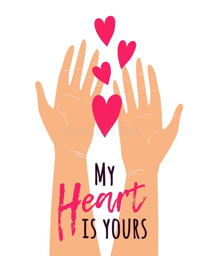 L'illustration mignonne de vecteur avec deux mains stockant les coeurs et le texte mon coeur est à vous Carte de voeux romantique illustration libre de droits