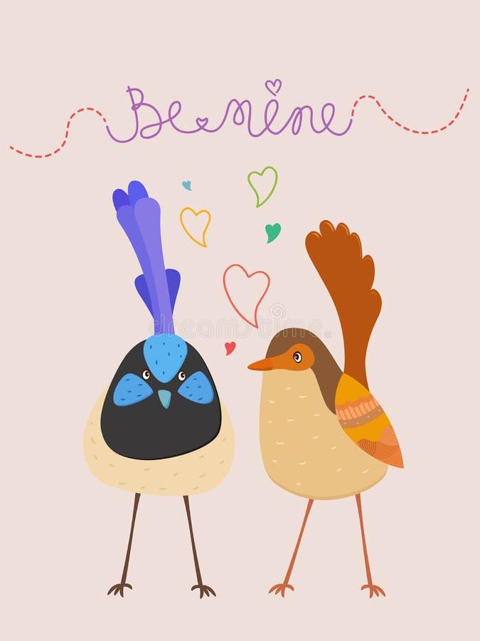 L'illustration mignonne de vecteur des oiseaux d'amour avec des coeurs et soit l'à moi t illustration libre de droits