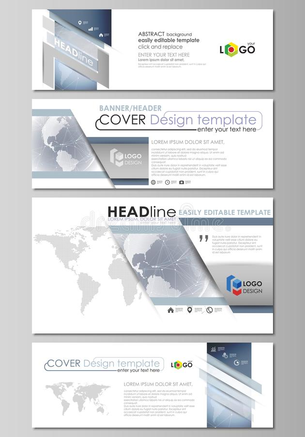 L'illustration minimalistic de vecteur de la disposition editable du media social, en-têtes d'email, calibres de conception de ba illustration de vecteur