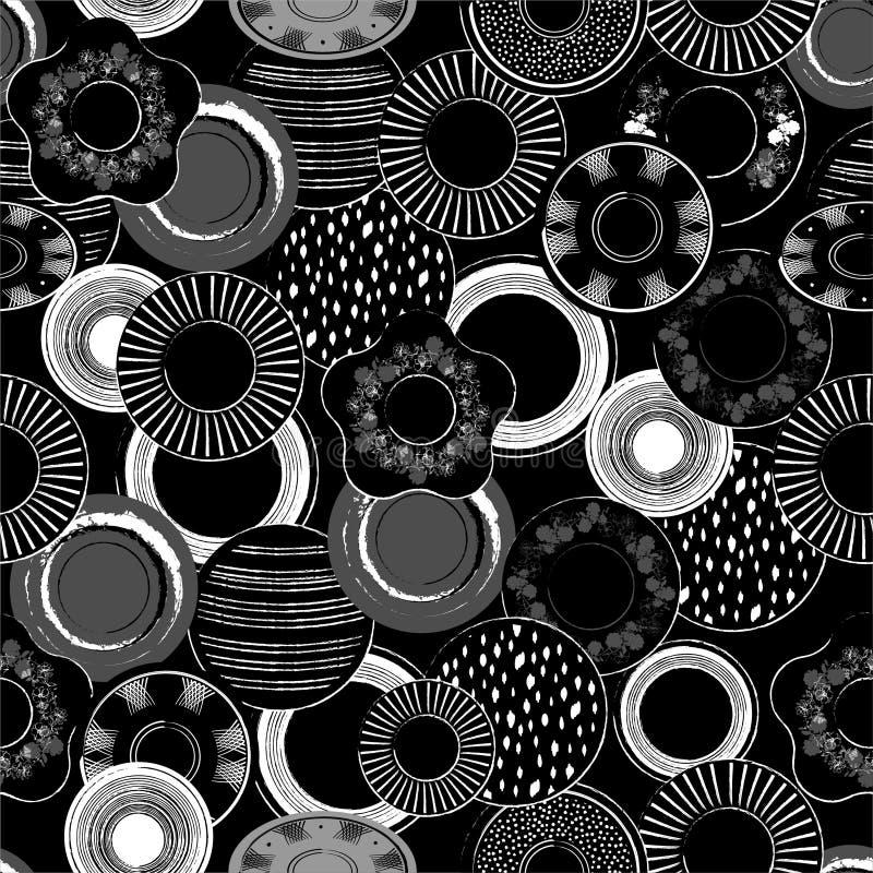 L'illustration noire et blanche monotone élégante de vecteur des plats de porcelaine tirés par la main modèlent le modèle sans co illustration de vecteur