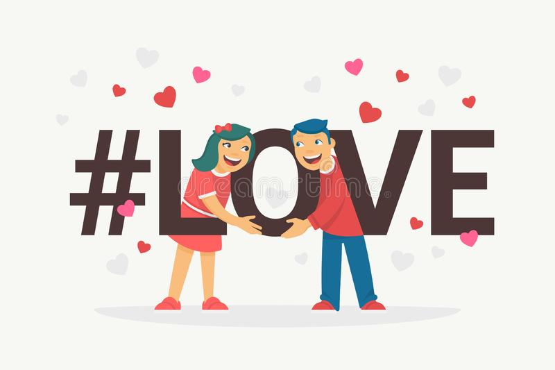 L'illustration plate de vecteur de concept d'amour de Hashtag du jeune garçon et la fille étreignant des lettres aiment et sourir illustration de vecteur