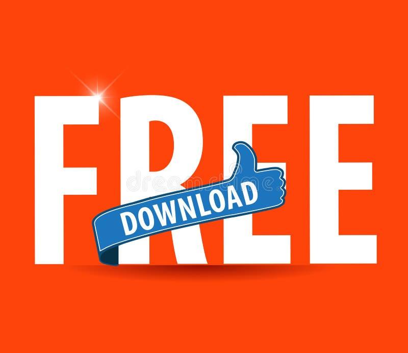 L'illustration plate moderne de la typographie de téléchargement gratuit avec des pouces lèvent le signe illustration libre de droits
