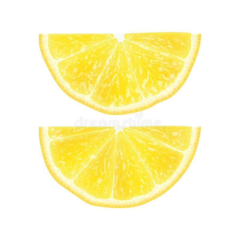 L'illustration réaliste du vecteur 3d de la moitié a coupé en tranches le citron Colourfu illustration libre de droits
