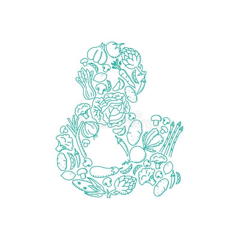 L'illustration réglée de modèle végétal de symbole de signe d'esperluète badine la conception de l'avant-projet de dessin de main illustration de vecteur
