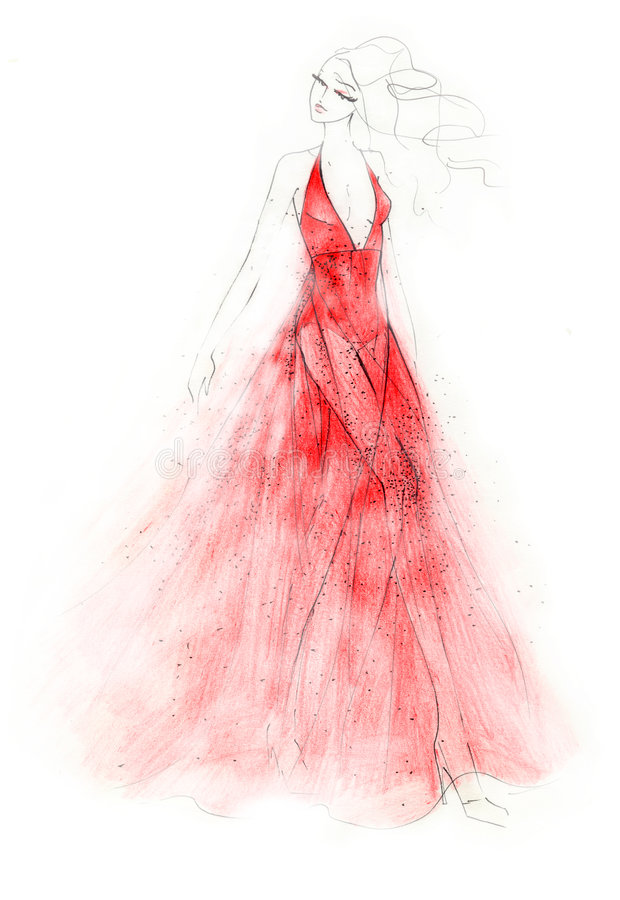 L'illustration rouge de mode de robe illustration libre de droits