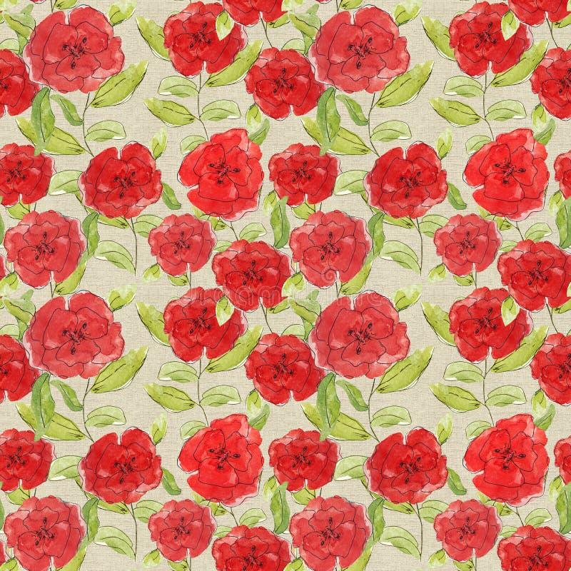 L'illustration rouge de pavots de fleurs de modèle laisse des branches que les bourgeons impriment le cru scrapbooking de papier  illustration de vecteur