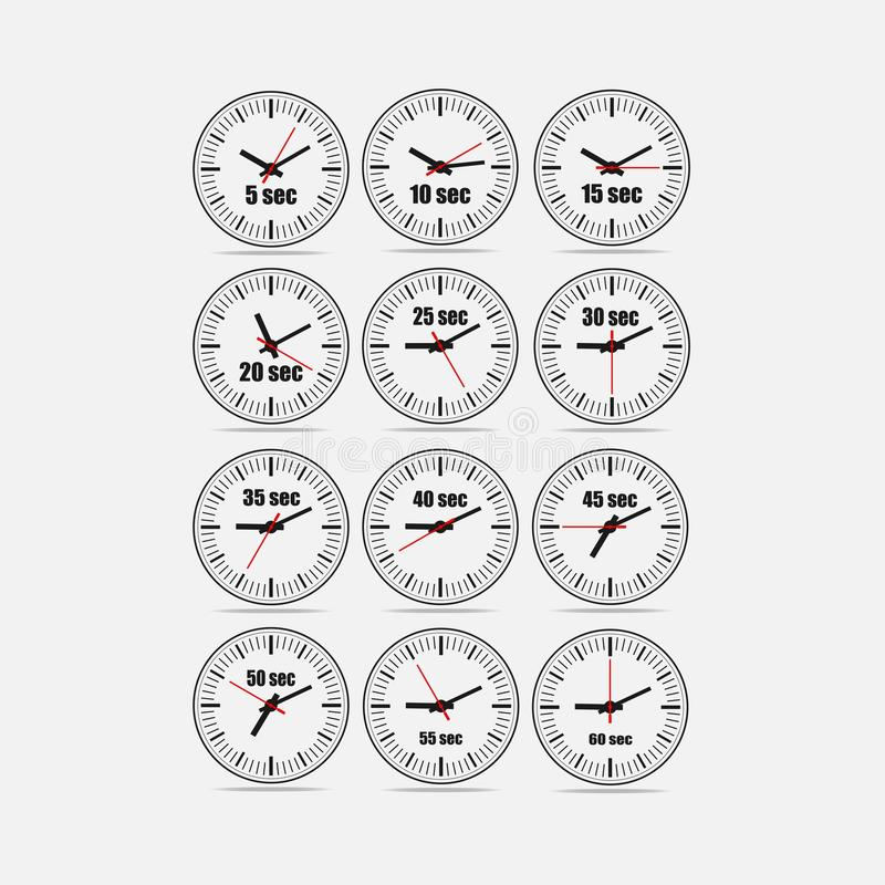 L'illustration rouge de vecteur a placé 1, augmentations de 5 à 60 secondes illustration stock