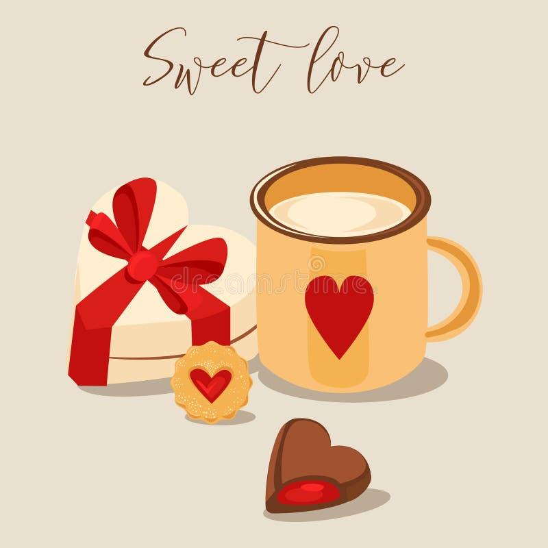l'illustration s de coeur de vert de dreamstime de conception de jour de carte stylized le vecteur de valentine Tasse de cappucci illustration stock