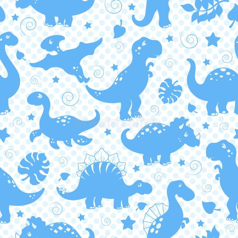 L'illustration sans couture avec des dinosaures et des feuilles, bleu silhouette des icônes sur un point de polka bleu de fond illustration stock