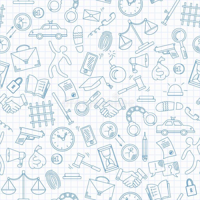 L'illustration sans couture avec les icônes tirées par la main sur le thème de la loi et des crimes, les icônes bleues de découpe illustration de vecteur