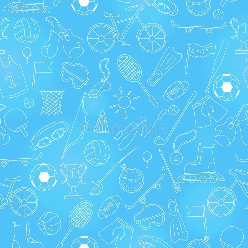 L'illustration sans couture sur le thème de l'été folâtre, contour lumineux d'icônes simples sur un fond bleu illustration de vecteur