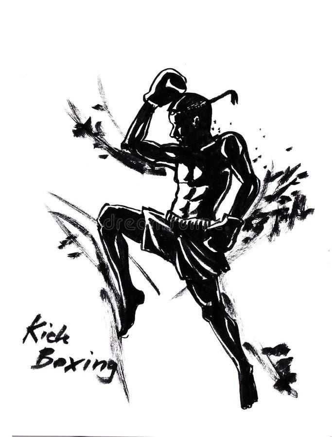 L'illustration thaïlandaise d'art martial de kick boxing avec le Chinois balayent le streptocoque illustration libre de droits
