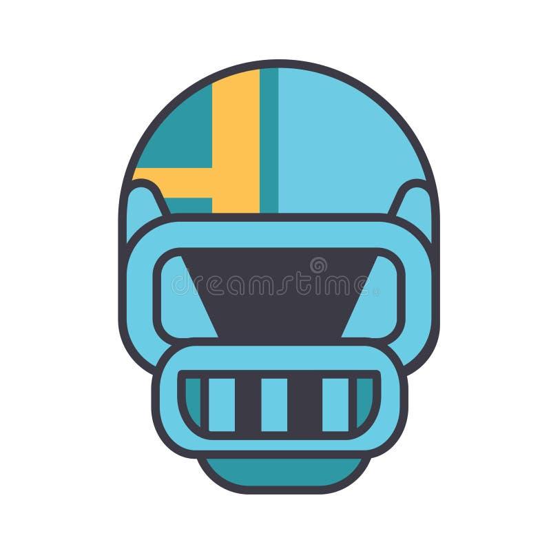 L'illustrazione al tratto piano, vettore del casco di football americano di concetto ha isolato l'icona illustrazione di stock