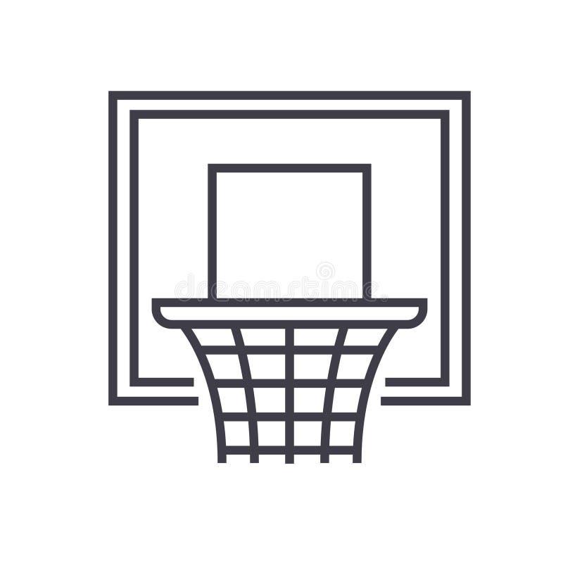 L'illustrazione al tratto piano, vettore del cerchio di pallacanestro di concetto ha isolato l'icona su fondo bianco illustrazione di stock