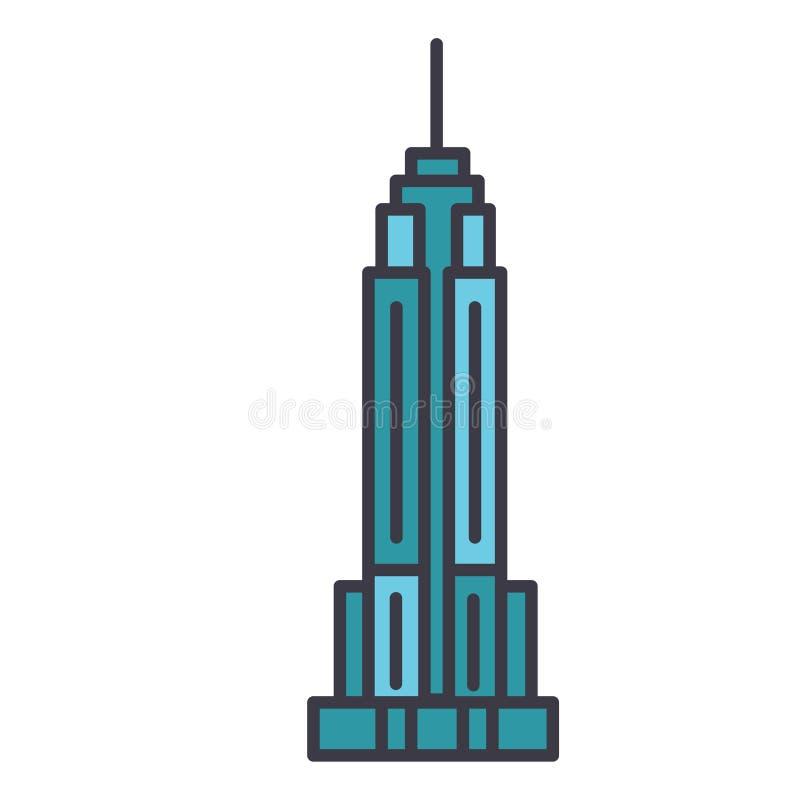 L'illustrazione al tratto piano, vettore dell'Empire State Building di concetto ha isolato l'icona illustrazione vettoriale