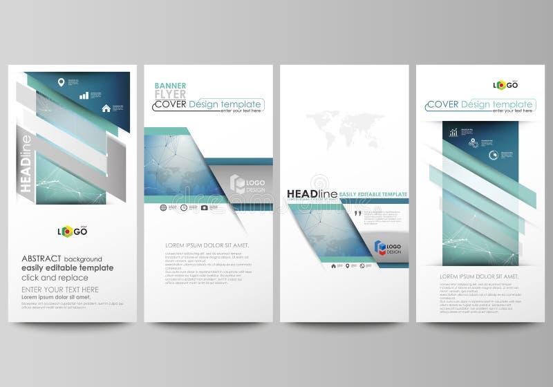 L'illustrazione astratta minimalistic di vettore della disposizione editabile di quattro insegne verticali moderne, alette di fil illustrazione vettoriale