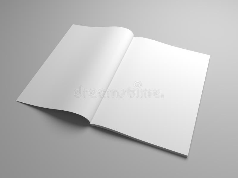 L'illustrazione in bianco 3D ha aperto la rivista, il libro, il libretto o l'opuscolo illustrazione di stock