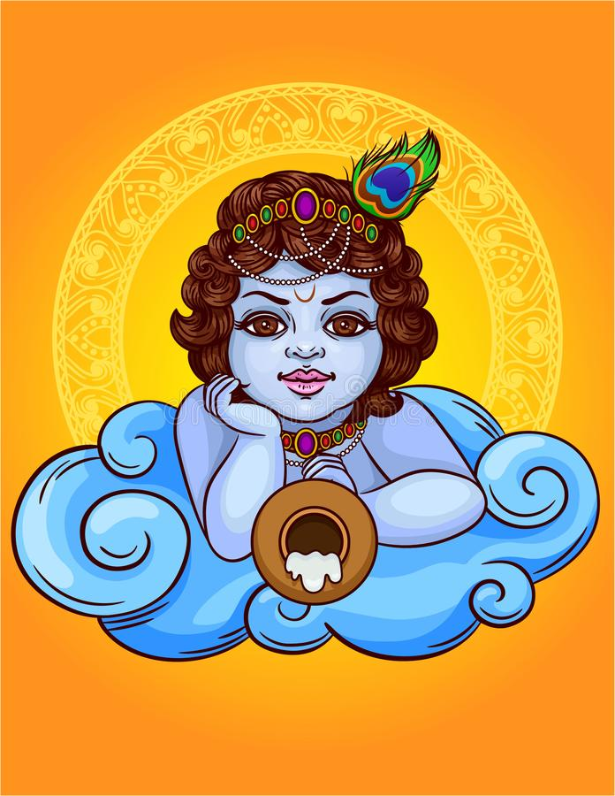 L'illustrazione colorata di vettore di un dio indiano Krishna si trova su una nuvola con un vaso royalty illustrazione gratis