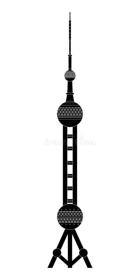 L'illustrazione con il punto di riferimento della torre orientale della perla royalty illustrazione gratis