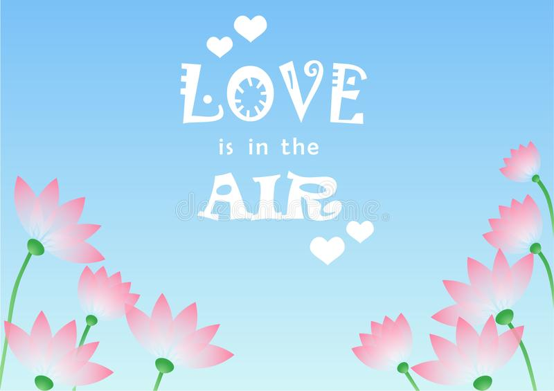 L'illustrazione con iscrizione dell'amore è nell'aria su fondo con i fiori ed il cielo blu rosa royalty illustrazione gratis