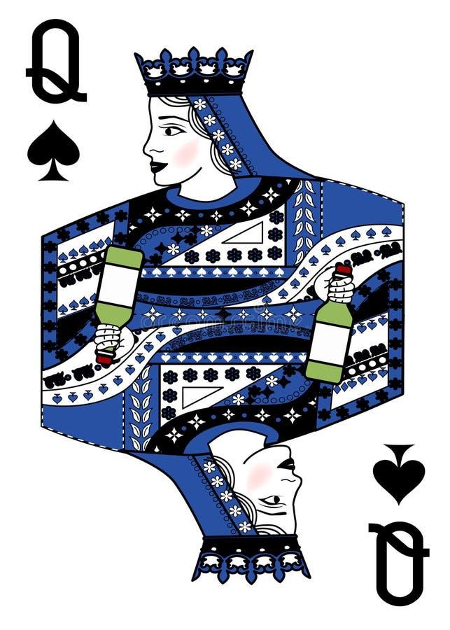L'illustrazione con la carta da gioco - la regina e la bottiglia illustrazione vettoriale