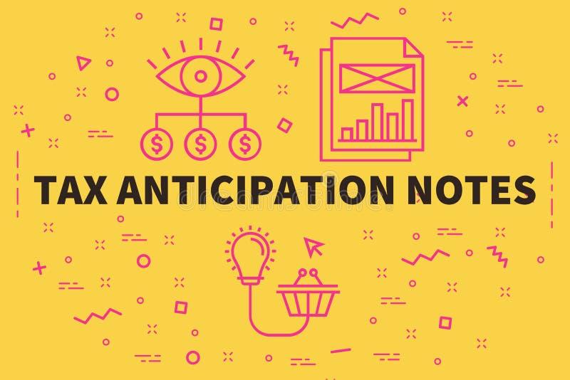 L'illustrazione concettuale di affari con le parole tassa l'anticipazione illustrazione di stock