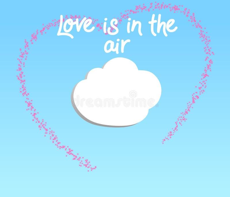L'illustrazione creativa di amore è nell'aria su un fondo degli azzurri di pendenza illustrazione vettoriale