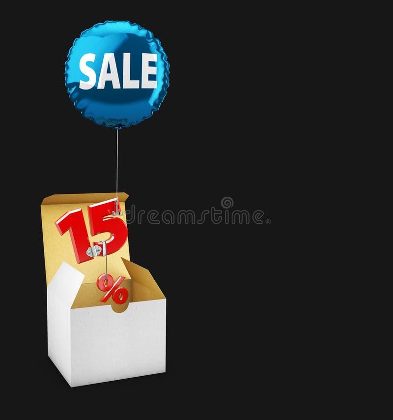 l'illustrazione 3d della scatola Open ed il volo balloon con un segno di quindici per cento, concetto della VENDITA per i negozi  illustrazione di stock