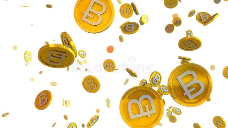 l'illustrazione 3D di bitcoin conia cadere su un fondo bianco illustrazione di stock