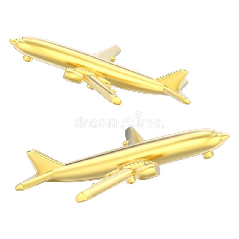 l'illustrazione 3D ha isolato due aeroplani dell'oro illustrazione di stock