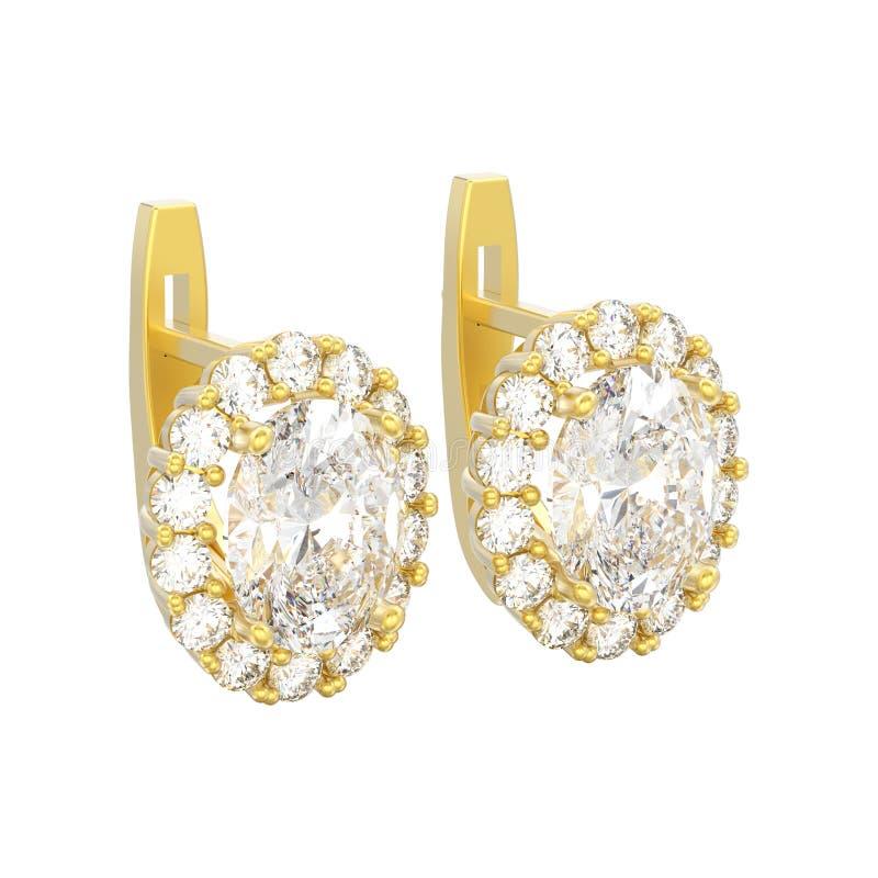 l'illustrazione 3D ha isolato gli orecchini del diamante dell'oro giallo con la pietra preziosa ovale con la serratura provvista  illustrazione vettoriale