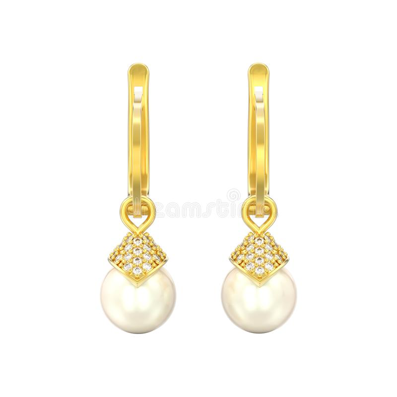 l'illustrazione 3D ha isolato gli orecchini del diamante della perla dell'oro giallo con illustrazione di stock