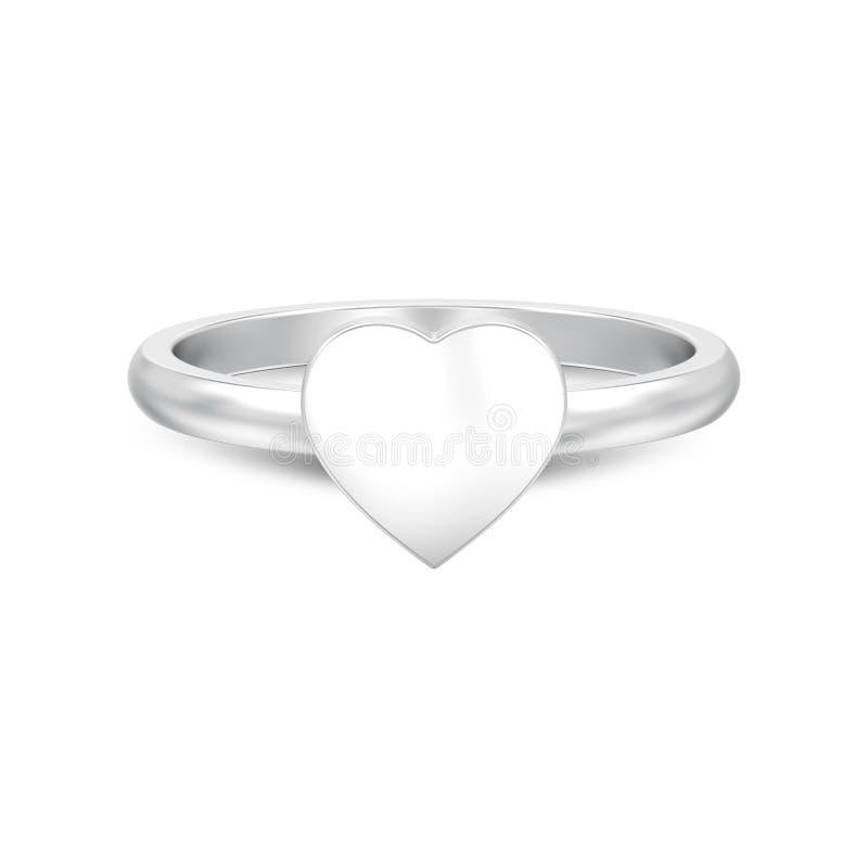 l'illustrazione 3D ha isolato i wi d'argento dell'anello del cuore di nozze di impegno illustrazione vettoriale
