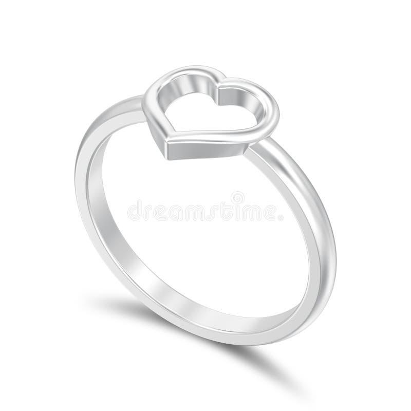 l'illustrazione 3D ha isolato i wi d'argento dell'anello del cuore di nozze di impegno illustrazione di stock