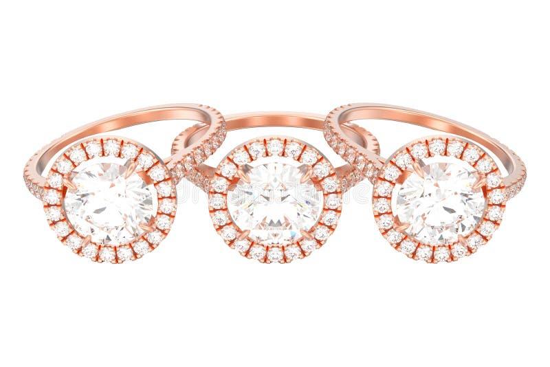 l'illustrazione 3D ha isolato il diametro rosa di nozze di impegno dell'oro tre illustrazione vettoriale
