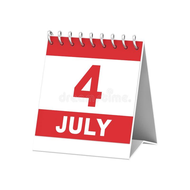 l'illustrazione 3D ha isolato 4 quattro remi rosso e bianco di luglio del calendario illustrazione vettoriale