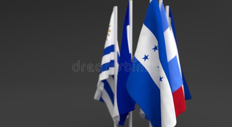 L'illustrazione 3d rende, bandiere dei cinque paesi dell'America Centrale illustrazione vettoriale