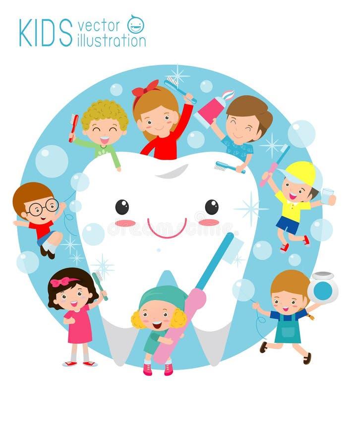L'illustrazione dei bambini che puliscono un dente, piccoli bambini prende la cura di e pulisce un grande, dente sorridente Perso illustrazione vettoriale
