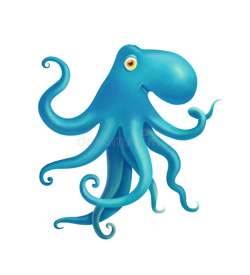 L'illustrazione dei bambini con il polipo blu royalty illustrazione gratis
