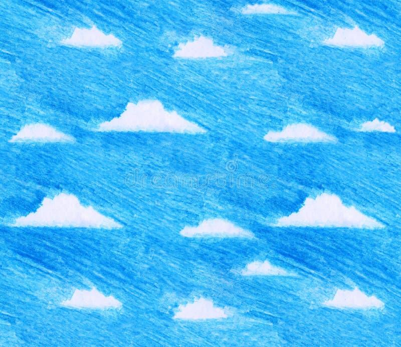 L'illustrazione dei bambini disegnati a mano di cielo blu e delle nuvole bianche nello stile a mano libera della matita di colore fotografie stock
