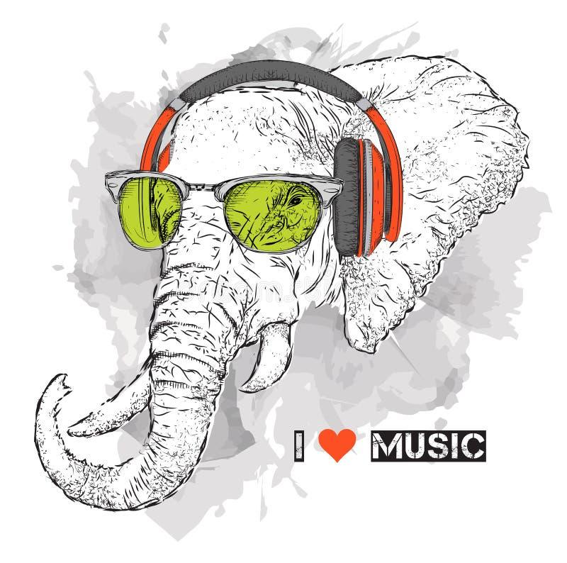 L'illustrazione dei pantaloni a vita bassa dell'elefante si è agghindata in maglietta, pantaloni e nei vetri e nelle cuffie Illus illustrazione vettoriale