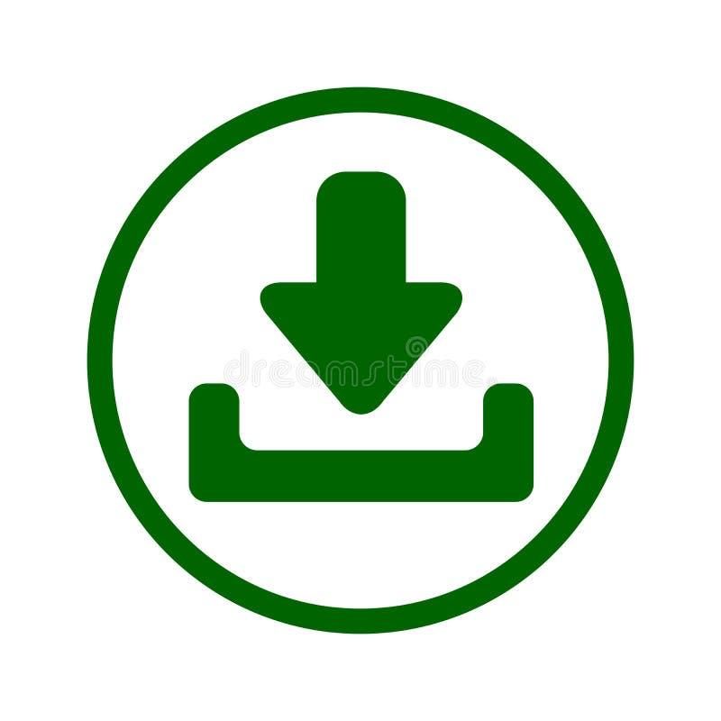 L'illustrazione del bottone di download con l'icona della freccia del basso ha isolato Simbolo del carico Progettazione piana - v royalty illustrazione gratis