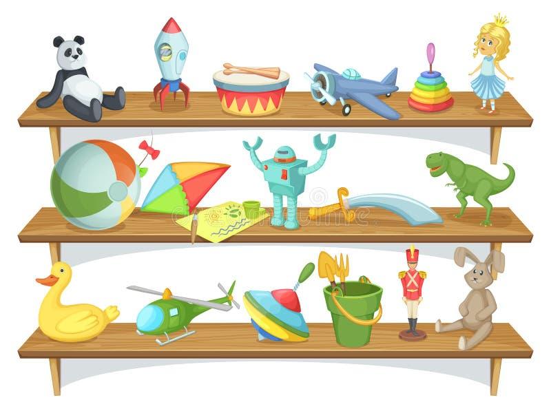 L'illustrazione del deposito dei bambini con il fumetto divertente gioca sugli scaffali Insieme di vettore illustrazione di stock