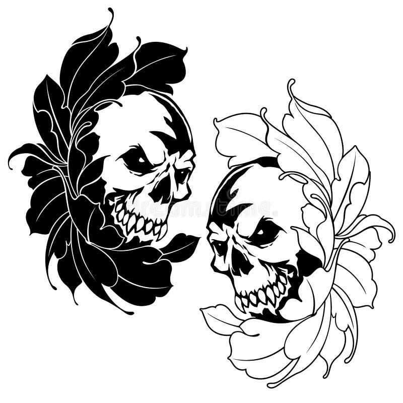 L'illustrazione del fiore e del cranio, royalty illustrazione gratis
