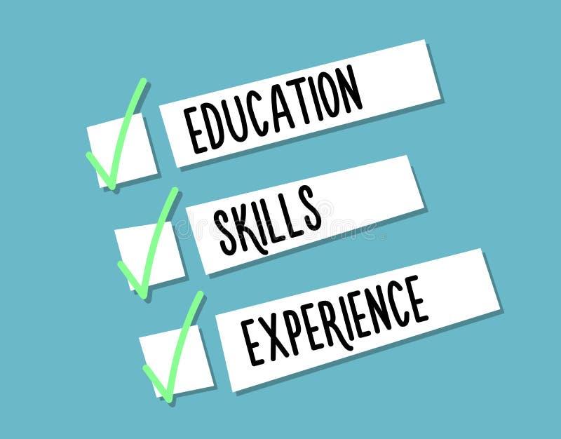 L'illustrazione del fondo del riassunto di curriculum con 3 criteri e qualificazioni principali ha avuto bisogno di Progettazione illustrazione vettoriale